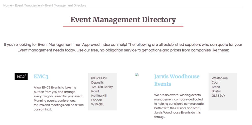 Preguntas para hacerle a un planificador de eventos: Approved Index.