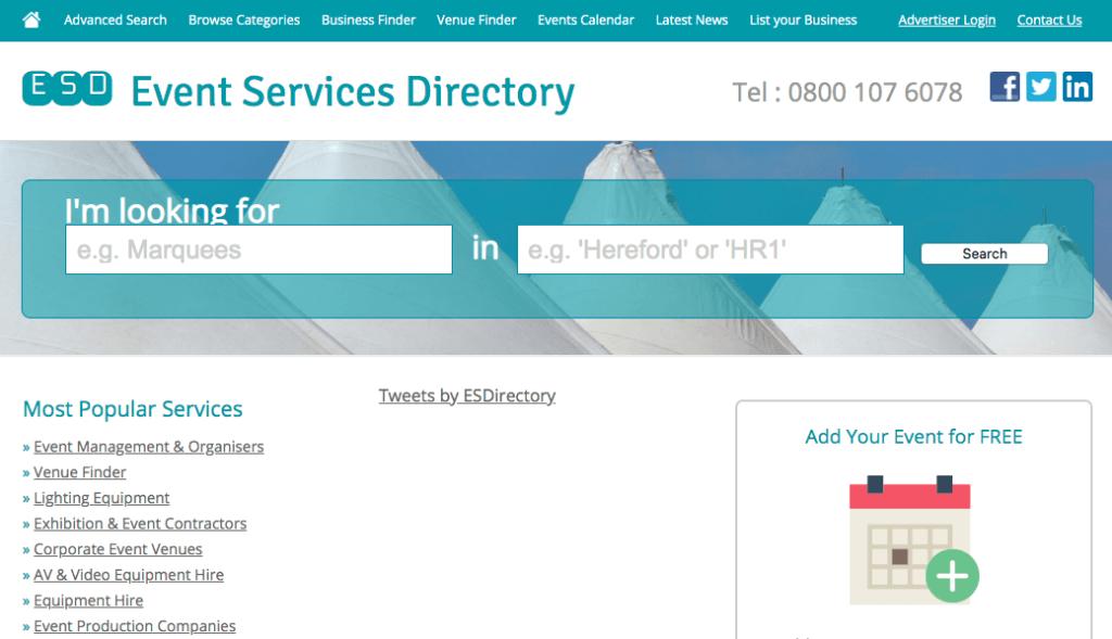 Preguntas para hacerle a un planificador de eventos: Event Services Directory.